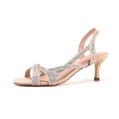 Women's Leatherette Stiletto Heel Peep Toe Sandals Slingbacks With Imitation Pearl Rhinestone Sparkling Glitter Pearl