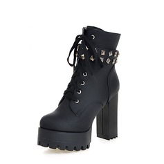 Women's PU Chunky Heel Pumps Platform Boots With Rivet Zipper Lace-up shoes (088137533)