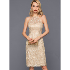 Sheath/Column Scoop Neck Knee-Length Lace Cocktail Dress With Beading Sequins (270194059)
