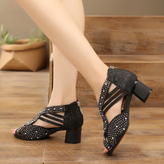 Women's Sparkling Glitter Latin With Rhinestone Dance Shoes