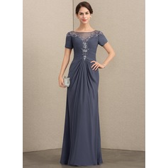 A-Line/Princess Scoop Neck Floor-Length Chiffon Mother of the Bride Dress With Lace Beading Sequins