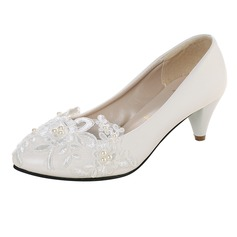 Women's Patent Leather Kitten Heel Closed Toe Pumps With Imitation Pearl Applique (047106268)