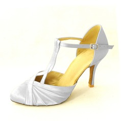 Women's Satin Heels Sandals Ballroom With T-Strap Dance Shoes