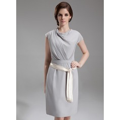 Sheath/Column Cowl Neck Knee-Length Chiffon Cocktail Dress With Ruffle Sash