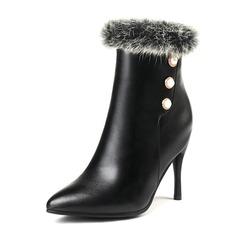 Femmes Similicuir Talon stiletto Bout fermé Bottes Bottines avec Perle d'imitation Fausse Fourrure chaussures