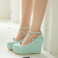 Women's Leatherette Wedge Heel Closed Toe Wedges With Buckle Lace-up shoes