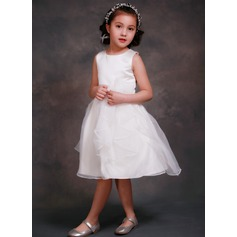 A-Line/Princess Tea-length Flower Girl Dress - Satin/Tulle Sleeveless Scoop Neck With Flower(s)