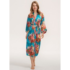 Beautiful Floral Silk / Cotton Robe (203234145)