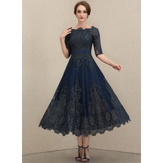 A-Line Scoop Neck Tea-Length Lace Evening Dress
