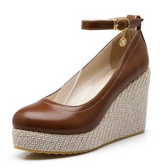 Leatherette Wedge Heel Platform Closed Toe Wedges With Rhinestone Buckle shoes (116061052)