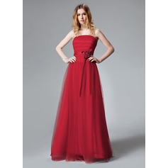A-Line/Princess Strapless Floor-Length Tulle Bridesmaid Dress With Ruffle Flower(s)
