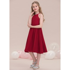 A-Line/Princess Knee-Length Chiffon Junior Bridesmaid Dress