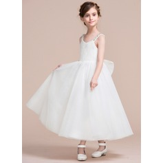 A-Line/Princess Tea-length Flower Girl Dress - Tulle/Lace Sleeveless V-neck With Bow(s)/V Back