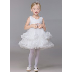 Ball Gown Short/Mini Flower Girl Dress - Tulle Sleeveless V-neck With Rhinestone