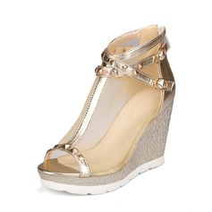 Women's Mesh PU Wedge Heel Pumps Wedges With Buckle shoes