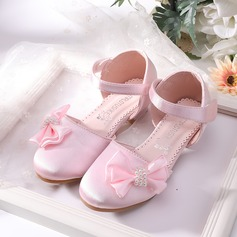 Girl's Round Toe Closed Toe Mesh Low Heel Flower Girl Shoes With Bowknot Velcro
