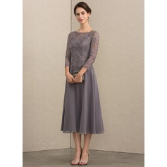 Scoop Neck Tea-Length Chiffon Lace Mother of the Bride Dress With Sequins (267196716)