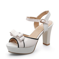 Women's Patent Leather Chunky Heel Sandals Pumps Platform Peep Toe With Bowknot shoes