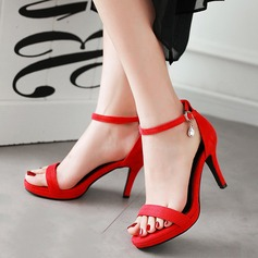 Women's Suede Stiletto Heel Sandals Pumps Peep Toe With Rhinestone Buckle shoes