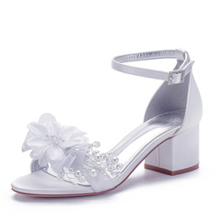 Women's Silk Like Satin Chunky Heel Peep Toe Sandals With Buckle Imitation Pearl Flower