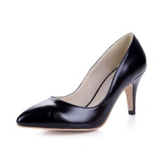 Patent Leather Spool Heel Pumps Closed Toe shoes