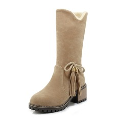 Women's Suede Chunky Heel Boots Mid-Calf Boots Snow Boots With Bowknot shoes