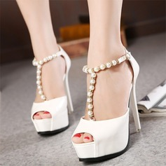 Women's Leatherette Stiletto Heel Peep Toe Platform Pumps Sandals With Imitation Pearl (047108989)