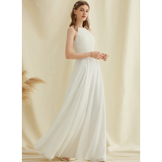 A-Line Scoop Neck Floor-Length Chiffon Lace Wedding Dress With Pockets