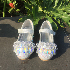 Girl's Round Toe Closed Toe Leatherette Flats With Velcro Crystal