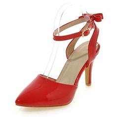 Frauen Lackleder Stöckel Absatz Absatzschuhe Geschlossene Zehe Mary Jane mit Schnalle Schuhe
