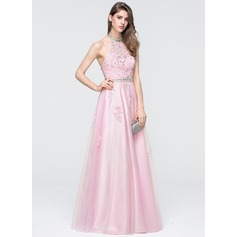 A-Line/Princess Halter Floor-Length Tulle Prom Dresses With Beading Sequins