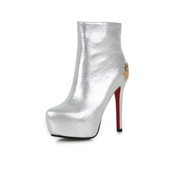 Women's Real Leather Stiletto Heel Platform Ankle Boots With Sequin shoes (088071284)