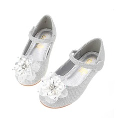 Girl's Leatherette Flat Heel Round Toe Flats With Rhinestone Satin Flower (207142572)
