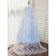 A-Line/Princess Sweep Train Flower Girl Dress - Satin/Tulle/Lace Sleeveless Scoop Neck With Appliques