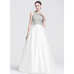 Ball-Gown Scoop Neck Floor-Length Satin Prom Dresses With Beading Sequins (018075892)