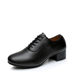 Men's Real Leather Sneakers Latin Ballroom Practice Character Shoes With Lace-up Dance Shoes