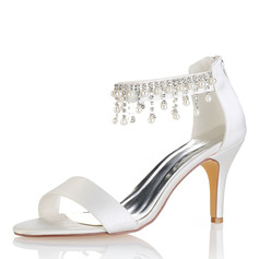 Women's Silk Like Satin Stiletto Heel Peep Toe Pumps Sandals With Tassel (273198053)