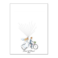 Bicycle and Balloon Canvas Fingerprint Guestbook With Ink Pad