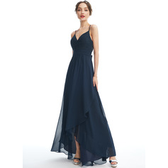A-Line V-neck Asymmetrical Bridesmaid Dress With Lace Bow(s)