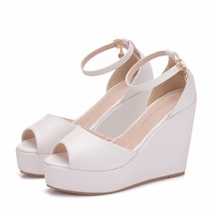 Women's Leatherette Wedge Heel Peep Toe Platform Wedges