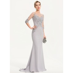 Trumpet/Mermaid Scoop Neck Sweep Train Stretch Crepe Evening Dress With Beading Sequins