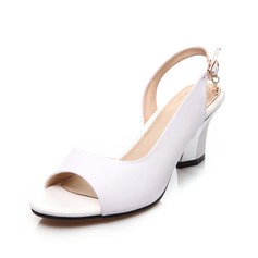 Real Leather Chunky Heel Sandals Slingbacks shoes (087062771)