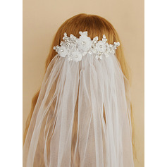 One-tier Cut Edge Elbow Bridal Veils With Rhinestones