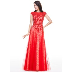 A-Line/Princess Scoop Neck Floor-Length Tulle Lace Evening Dress With Beading Sequins Bow(s)