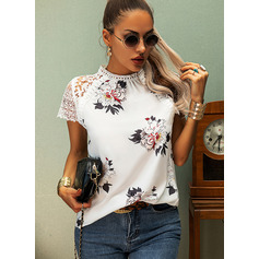 Regular Polyester Round Neck Floral Lace Print Tight Blouses (1003256854)