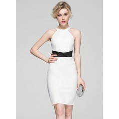 Sheath/Column Scoop Neck Knee-Length Jersey Cocktail Dress With Lace