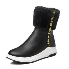 Women's Leatherette Flat Heel Closed Toe Boots Mid-Calf Boots With Fur shoes