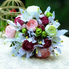 Vivifying Round Satin Bridal Bouquets -