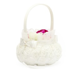 Lovely Flower Basket in Satin With White Organza Rose (102049627)