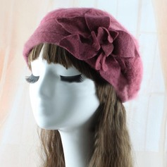 Ladies' Lovely/Exquisite Cony Hair With Flower Beret Hat